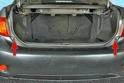 Снятие и установка заднего бампера Тойота Королла 10 Аурис