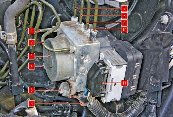 Снятие и установка гидроэлектронного модуля Тойота Королла 10 Аурис