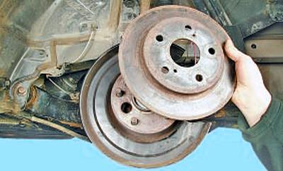 Замена тормозного диска тормозного механизма заднего колеса Тойота Королла 10 Аурис